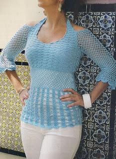 Fresca Blusa Azul a Crochet Paso a Paso