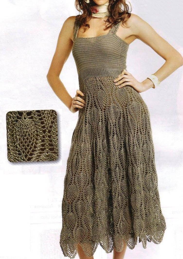 2015  vestidos con punto piña 1